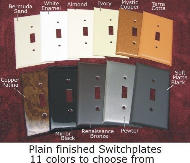 Plain Designs switch plates in 11 Finishes available in 53 configurations