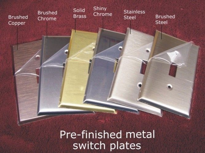 Pre-finished Metal switchplates in 6 Finishes available in 53 configurations