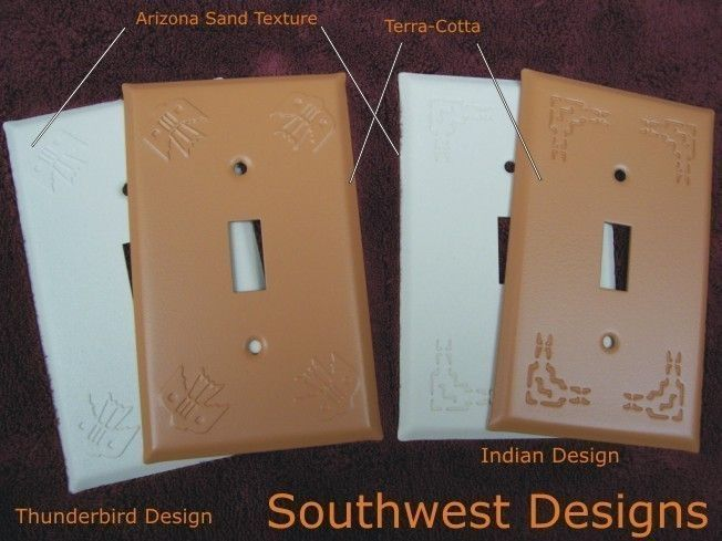Southwest switch plates in two styles and 3 finishes
