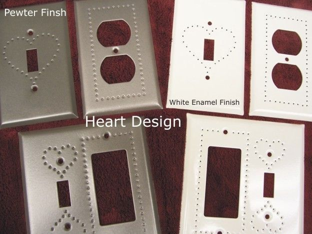 Punched Heart Design switchplates in 3 Finishes available in 28 configurations