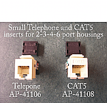 Small Telephone and CAT5 inserts for 2-3-4-6 port GF (Decora) type housings. Available in 6 colors