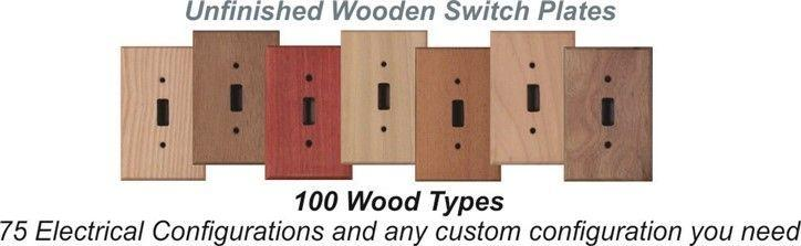 Wooden switch plates in 97 wood types ready to stain or paint