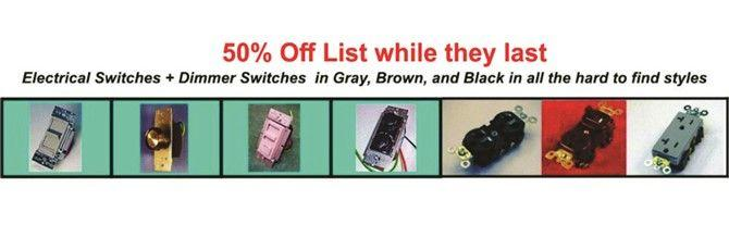 Electrical switches and receptacles in gray, black, and brown only