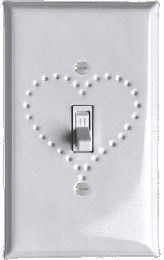 White Enamel Switch plates punched heart design