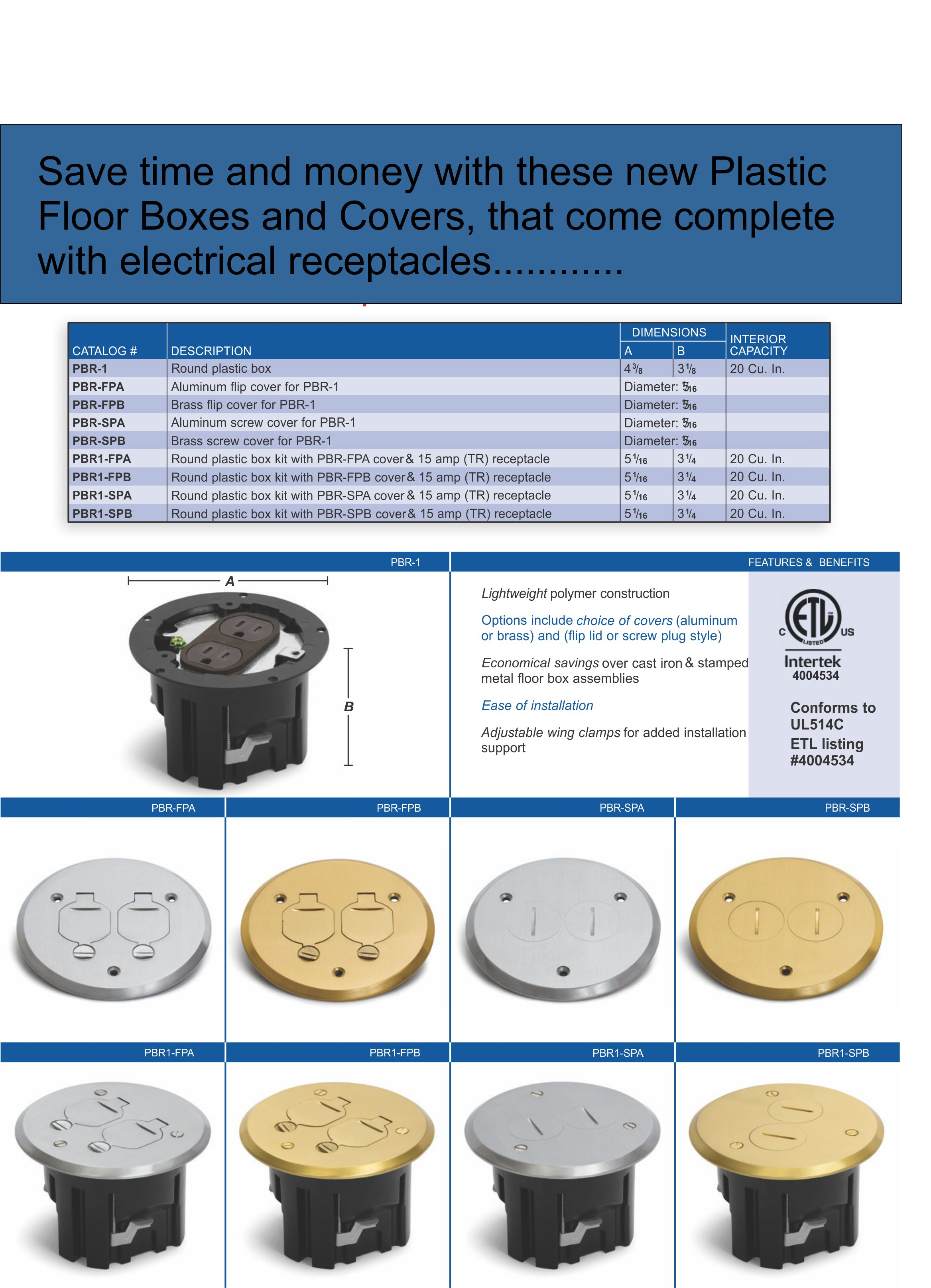 Round Plastic Floor Box For Wood Or Concrete In Brass Or