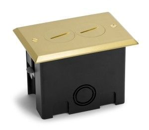 Plastic floor box with brass cover