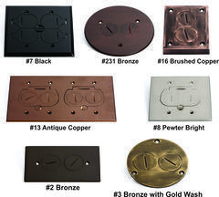 Custom finishes for floor box covers in 38 custom finishes