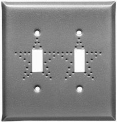 Punched star double toggle switch plate in pewter finish