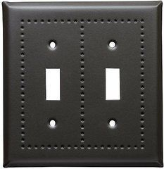 Soft Black switch covers in our puncehd border design and in 4 finishes