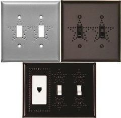 collage of punched star switch covers for standard and decora switch in varied configurations
