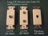 Cable TV and Telephone GF style inserts for GF (Decorator) style switchplates