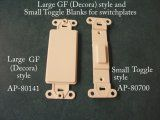 Large GF (Decorator) and toggle style blank inserts for switch plate covers