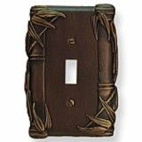 Bamboo Design Single Switch Wall Plate shown in # 3 Rubbed Bronze Plate coverss