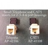 Small Tel and CAT5 and CAT6 inserts for Decorator type housings in 6 colors