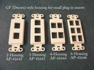 2-3-4-6 port housing inserts for GF or (Decorator) style for switch plates.