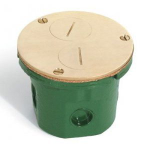 Round floor box with brass cover