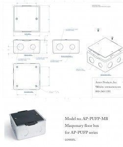 Square electrical mounting box for AP-PUFP series floor boxes for concrete floors cut sheet