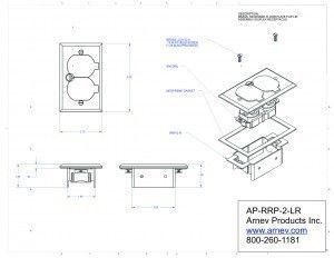 AP-RRP-2-LR Recessed Floor Plate, No Box, Duplex, Brass