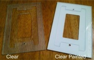 Before and after painting of our new Screwgard paintable gaskets for our clear glass switchplates