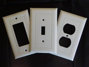 white enamel border design switch plates