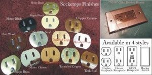 socketops, socket covers for receptacles, are displayed in many finishes and electrical outlet and switch configurations