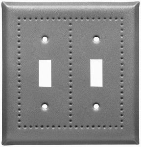 Pewter border design switch plates
