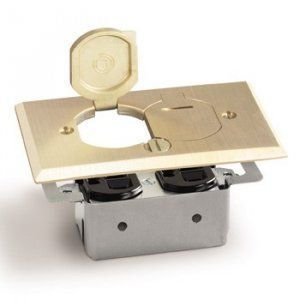 Recessed Floor Plate, No Box. AP-RRP-2-LR Floor Box for Duplex flip lids, brass cover