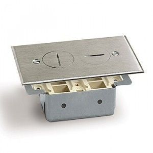 AP-RRP-2-T Floor Box for Telephone in Brass, Aluminum, Nickel Silver