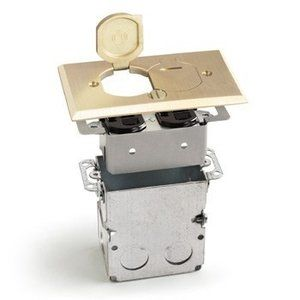 Brass or aluminum cover for this floor receptacle box with duplex and flip lids