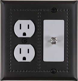 black switch cover with an outlet and a decora switch in black matte with a punched border