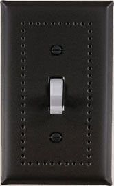 black switch plate for a single toggle switch in black matte with a punched border
