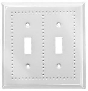 White enamel border switch plates