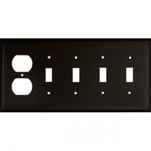 Custom Finish  5 gang Switch Plate shown in # 7 Matte Black
