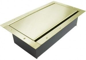 Double Wide Pocket AV Floor box in our custom solid brass finish