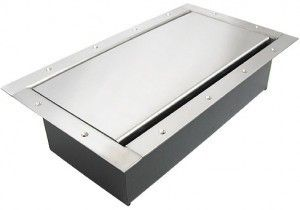 Double Wide Pocket AV Floor box in stainless steel custom finish