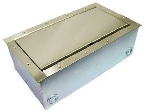 Super Double Pocket AV Floor Box in brass