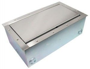 Super Double Pocket AV Floor Box  in stainless steel