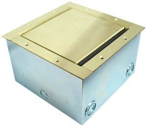 Super Pocket AV Floor Box in brass